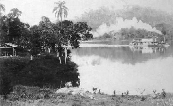 Vapor Izabel, no Rio Ribeira de Iguape, na altura do bairro Jipovura, por volta de 1909